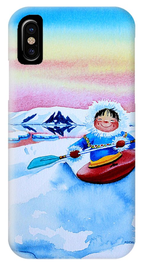 Storybook Illustration IPhone X Case featuring the painting The Kayak Racer 3 by Hanne Lore Koehler