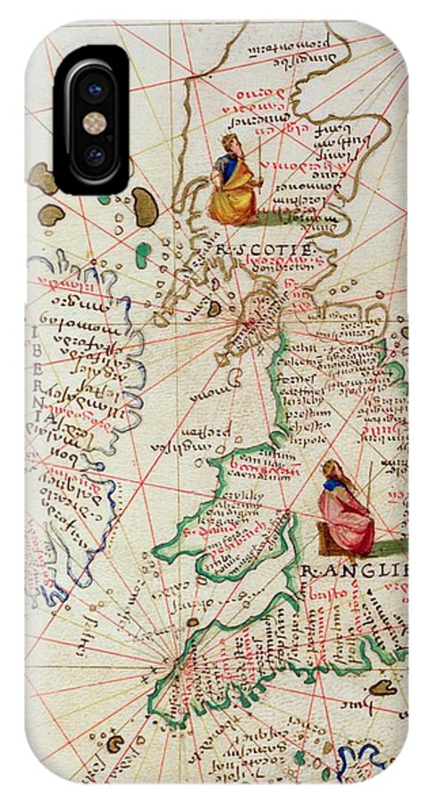 Maps IPhone X Case featuring the drawing The Kingdoms Of England And Scotland by Battista Agnese