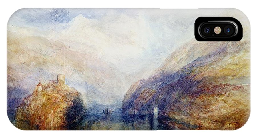 Alps; Alpine; Romantic; Near Schwyz; Mountainous; Castle; Swiss Landscape; Romanticist; Romanticism IPhone X Case featuring the painting The Lauerzersee With The Mythens by Joseph Mallord William Turner
