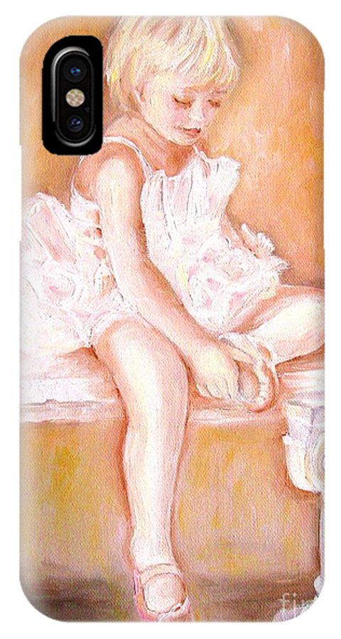 Ballerinas IPhone X Case featuring the painting The Little Ballerina by Carole Spandau