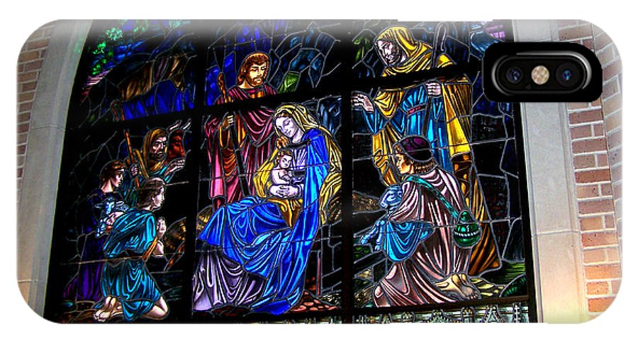 Pittsburg Prayer Tower IPhone X Case featuring the photograph The Nativity Stained Glass by Kathy White