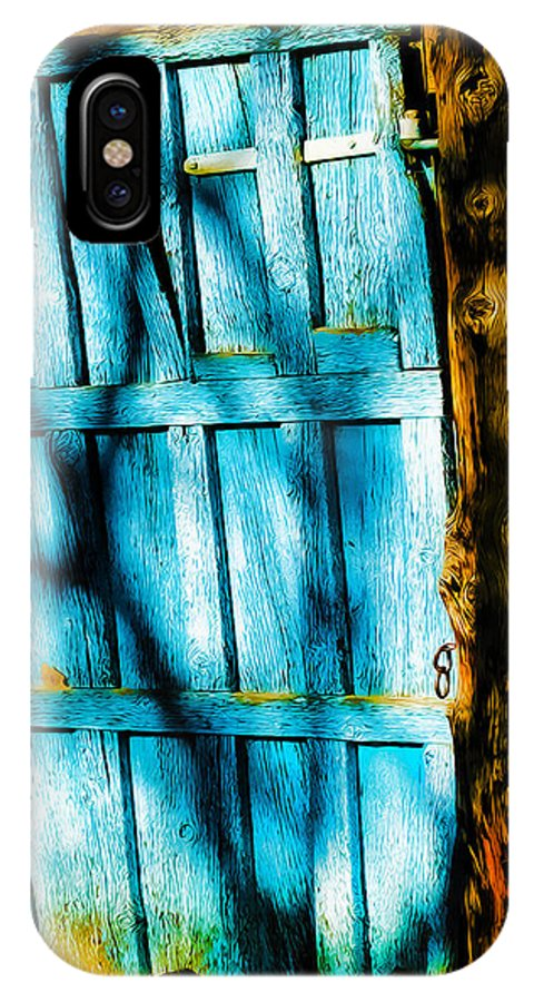 Door IPhone X Case featuring the photograph The Old Blue Door by Terry Fiala