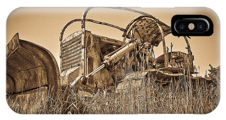 Farm Equipment IPhone X Case featuring the photograph The Old Bulldozer by Steve McKinzie