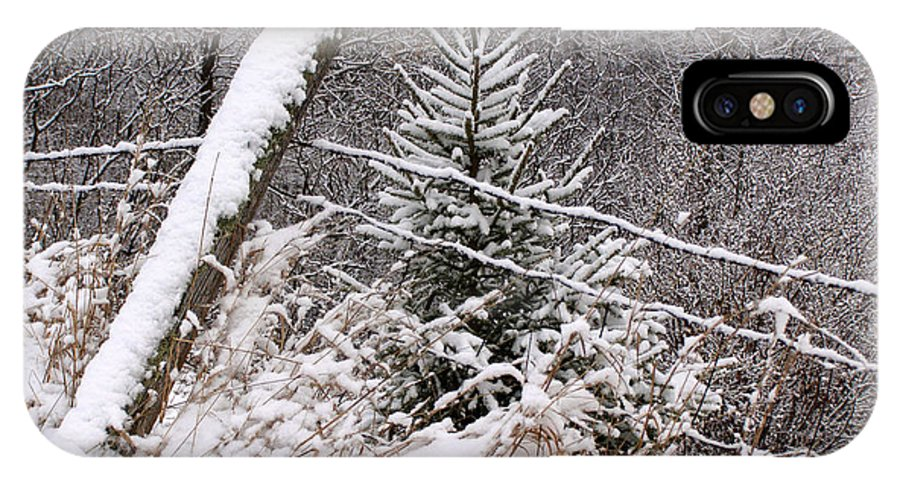 Fence IPhone X Case featuring the photograph The Old Fence - Snowy Evergreen by Angie Rea