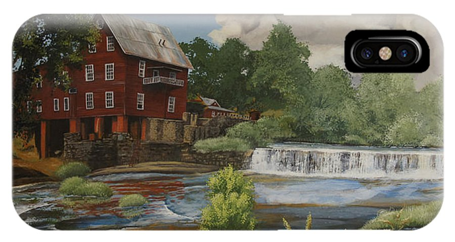 Landscape IPhone X Case featuring the painting The Old Mill at Shoulderbone by Peter Muzyka