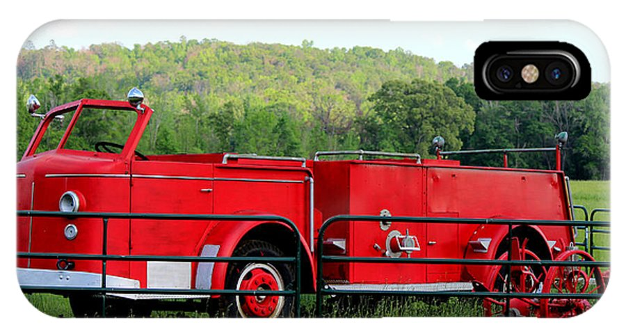 Firemen IPhone X Case featuring the photograph The Old Red Fire Engine by Kathy White