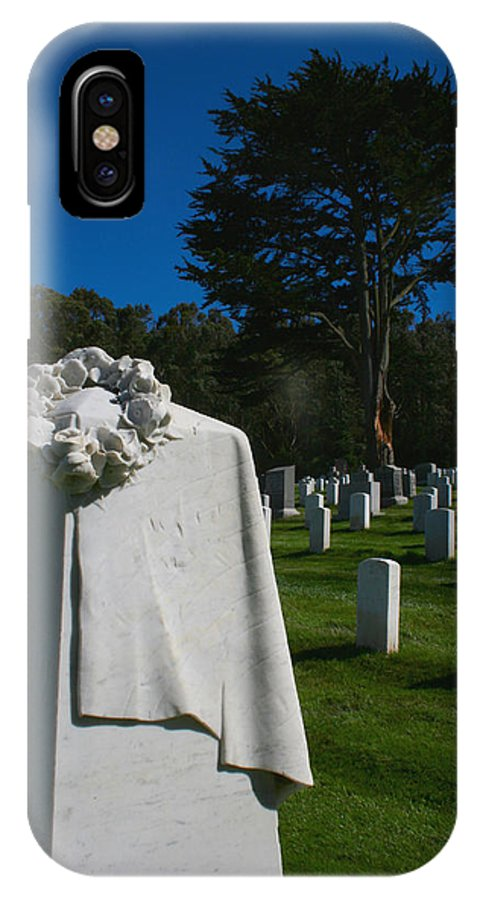 Cemetery IPhone X Case featuring the photograph The Patriot And The Cypress by Sally Bauer