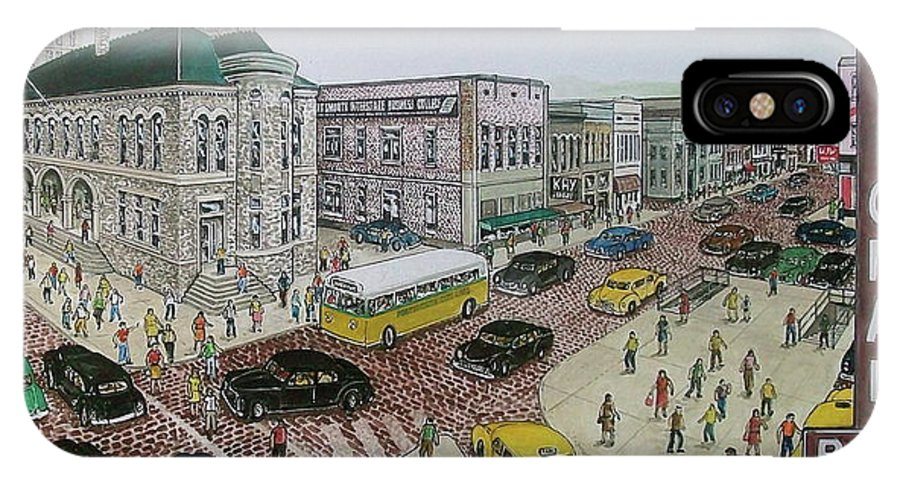 Post Office Portsmouth Ohio Cars National Bank Esplanade IPhone X Case featuring the painting The Portsmouth Ohio Post Office On The Esplanade 1948 by Frank Hunter