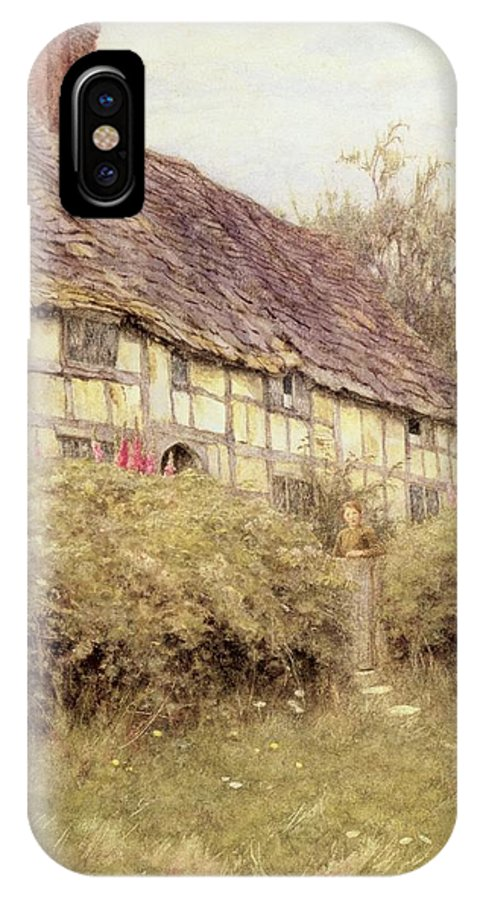 Cottage; Mother And Child; Gate; Rural Scene; Country; Countryside; Home; Path; Wildflowers; Picturesque; Idyllic; Daughter; Timber Frame; Half-timbered; Female IPhone X Case featuring the painting The Priest's House West Hoathly by Helen Allingham