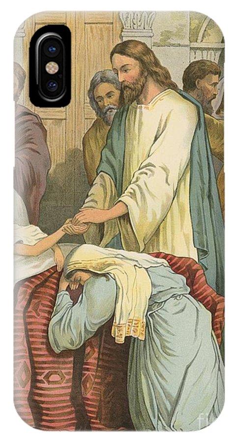 Bible; Children's; Jesus Christ; Jairus; Daughter IPhone X Case featuring the painting The Raising Of Jairus' Daughter by English School