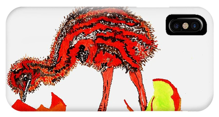 Red Bird IPhone X / XS Case featuring the painting The Red Bird by Connie Valasco
