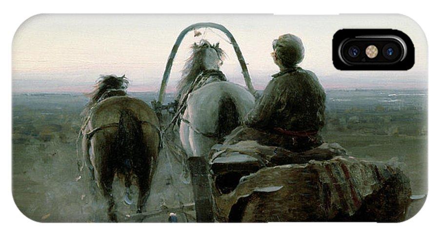 Horse Trap; Horses; Carriage; Driver; Landscape; Peredvizhniki; Peredvizhniki Group IPhone X Case featuring the painting The Return Journey by Abram Efimovich Arkhipov