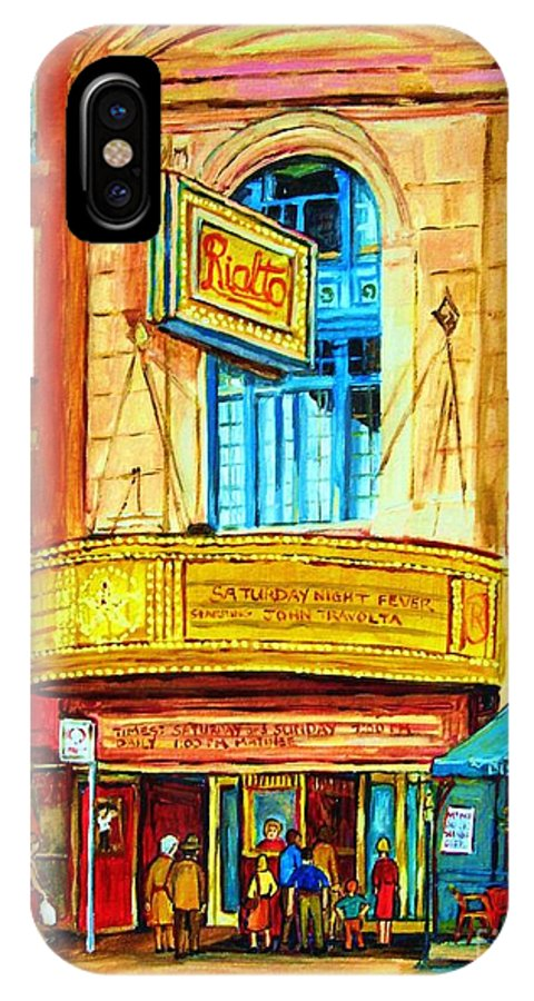 Street Scene IPhone Case featuring the painting The Rialto Theatre by Carole Spandau