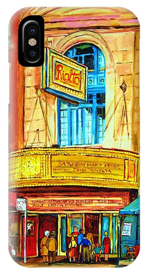 Street Scene IPhone X Case featuring the painting The Rialto Theatre by Carole Spandau
