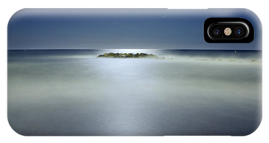 Moonlight IPhone X Case featuring the photograph The Rock Island Under De Moonlight by Guido Montanes Castillo