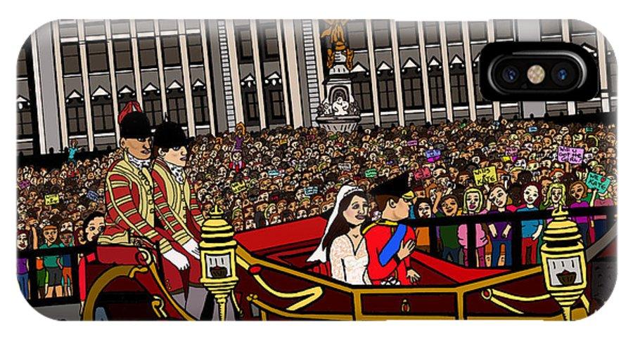 Royal Wedding IPhone X Case featuring the drawing The Royal Wedding by Karen Elzinga