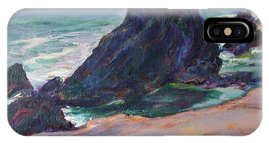 Seascape IPhone X Case featuring the painting The Seal Rock March by Quin Sweetman