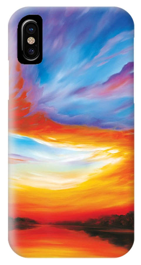 Sunrise; Sunset; Power; Glory; Cloudscape; Skyscape; Purple; Red; Blue; Stunning; Landscape; James C. Hill; James Christopher Hill; Jameshillgallery.com; Ocean; Lakes; Genesis; Creation; Quantom; Singularity IPhone X Case featuring the painting The Seventh Day by James Christopher Hill