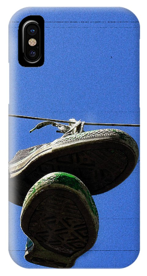 Sneakers IPhone X Case featuring the photograph These Old Things Blue by Kristie Bonnewell