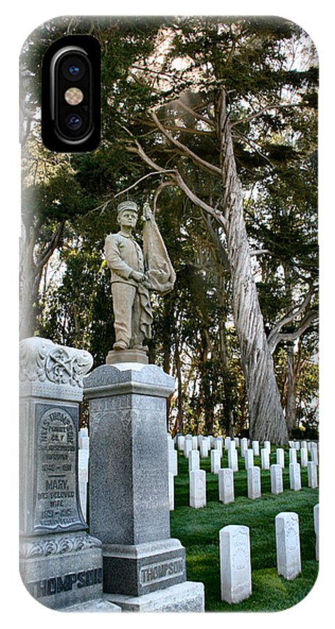 Cemetery IPhone X Case featuring the photograph Thomas Thompson And His Parents by Sally Bauer