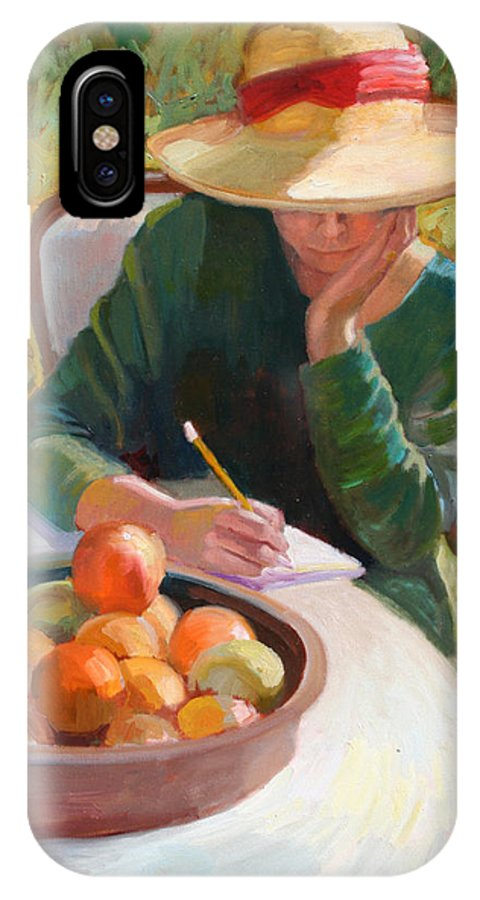 Sally Rosenbaum IPhone X Case featuring the painting Thoughts To Myself by Sally Rosenbaum