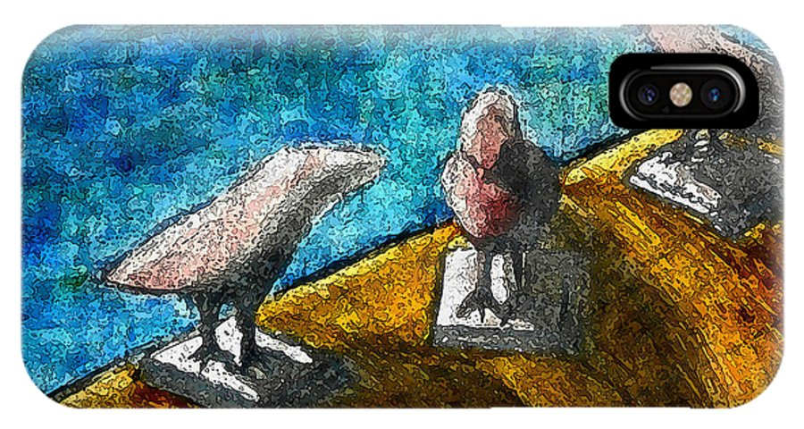 Birds By The Water IPhone X Case featuring the mixed media Three Birds Blue by James Raynor