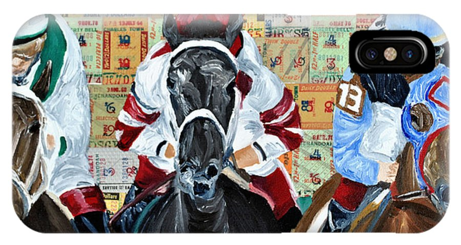 Horses IPhone X Case featuring the painting Three In The Lead by Michael Lee