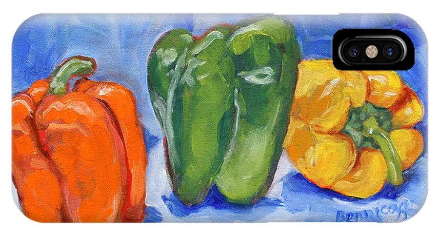 Peppers IPhone X Case featuring the painting Three Peppers by Jan Bennicoff