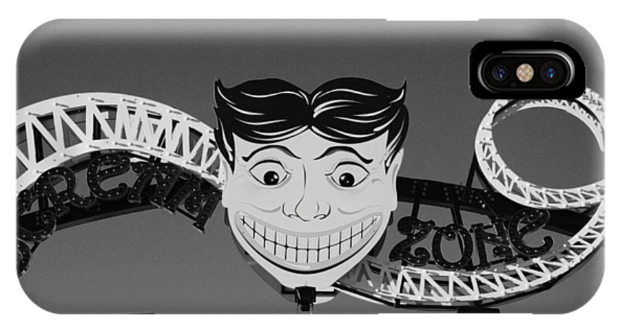 Brooklyn IPhone X Case featuring the photograph Tillie's Scream Zone In Black And White by Rob Hans