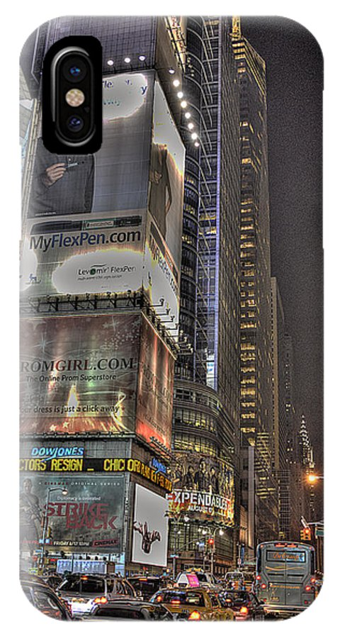 Times Square IPhone X Case featuring the photograph Times Square by William Fields