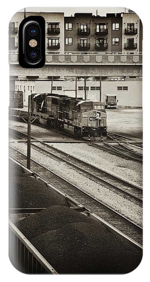 Train IPhone X / XS Case featuring the photograph Tinted Train by Sheri Bartoszek