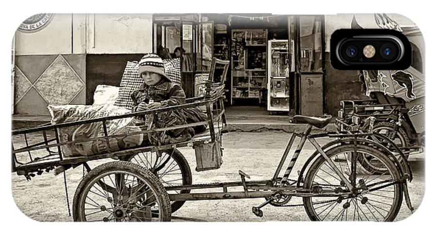 Peru IPhone X Case featuring the photograph Tiny Biker Sepia by Steve Harrington
