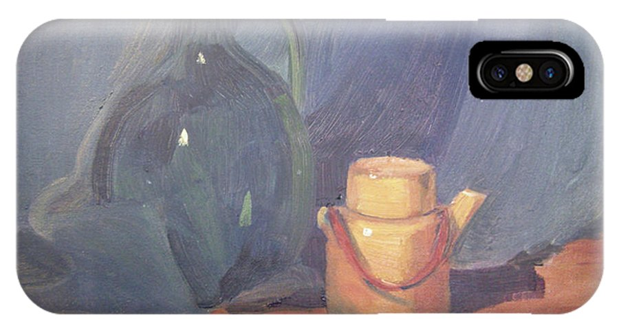Still Life IPhone X Case featuring the painting Tiny Tea by Lilibeth Andre