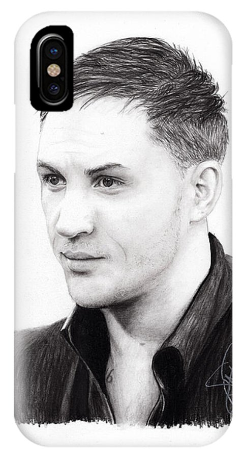 Tom Hardy IPhone X Case featuring the drawing Tom Hardy by Rosalinda Markle