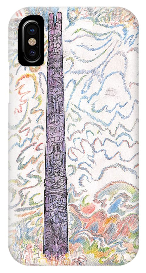Culture IPhone X / XS Case featuring the drawing Totem Park Sitka Alaska by Al Goldfarb
