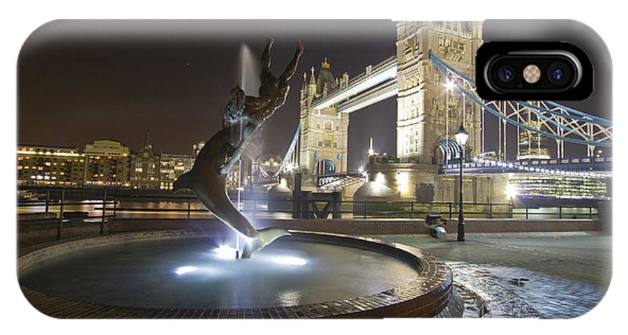 Tower Bridge IPhone X Case featuring the photograph Tower Bridge Girl With A Dolphin by David French