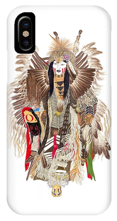Pow-wow IPhone X / XS Case featuring the drawing Traditional Pow-wow Dancer 1 by Tim McCarthy