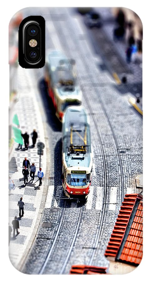 St�dte IPhone X Case featuring the photograph Tram In Prague by Joerg Lingnau