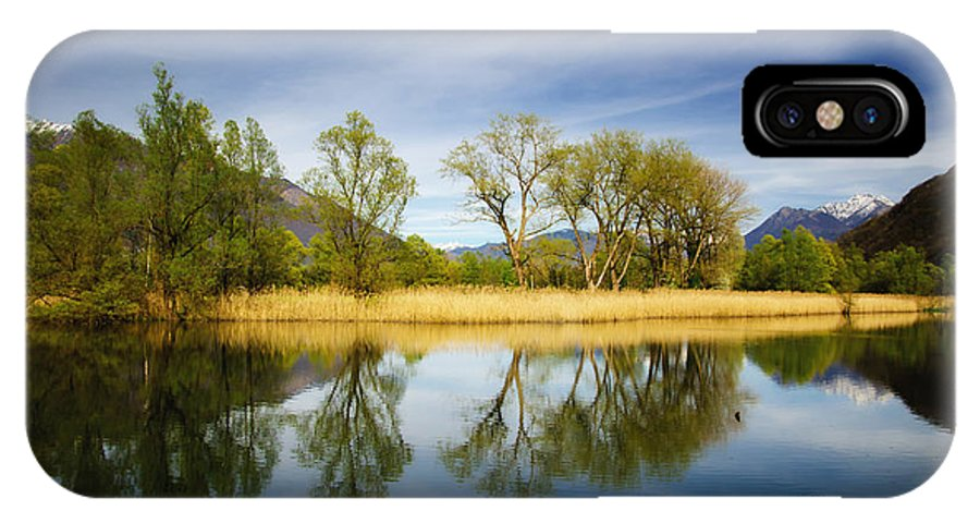 Tree IPhone X Case featuring the photograph Trees Reflections On The Lake by Mats Silvan