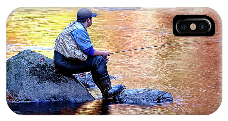 Trout Fisherman IPhone X Case featuring the photograph Trout Fisherman In Autumn by Dave Mills