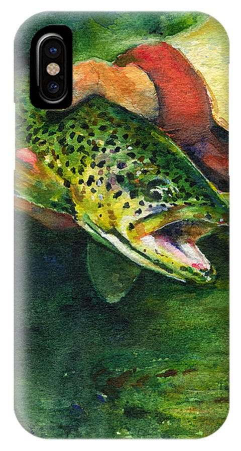Fish IPhone X Case featuring the painting Trout In Hand by John D Benson