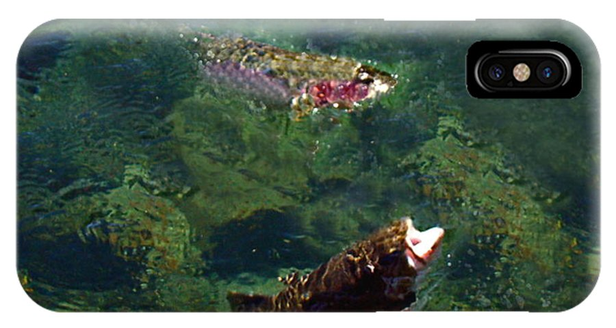Trout IPhone X Case featuring the photograph Trout Rising To Feed by Nick Kloepping