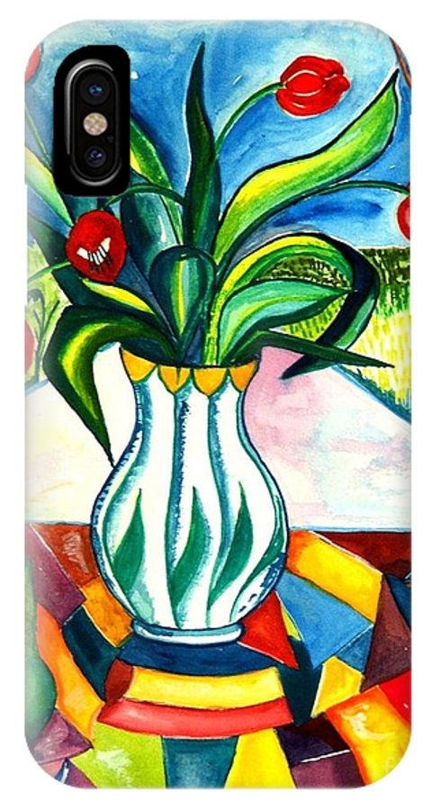 Flowers IPhone X Case featuring the painting Tulips And A Pear by Caroline Street