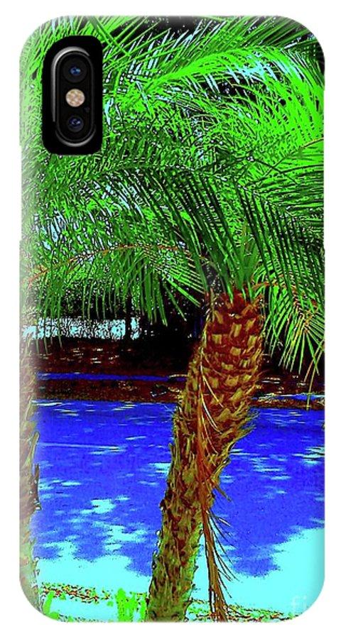 Digital Art IPhone X Case featuring the digital art Twin Palms 2 by Nina Kaye