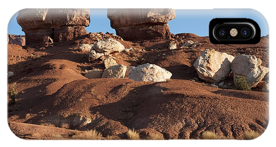 Capitol Reef IPhone X Case featuring the photograph Twin Rocks Capitol Reef Np by Sandra Bronstein