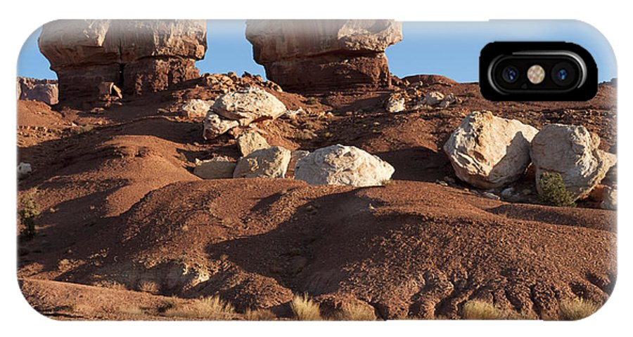 Landscapes IPhone X Case featuring the photograph Twin Rocks Capitol Reef Np by Sandra Bronstein