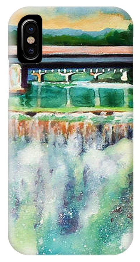 Paintings IPhone X Case featuring the painting Two Bridges And A Falls 2     by Kathy Braud