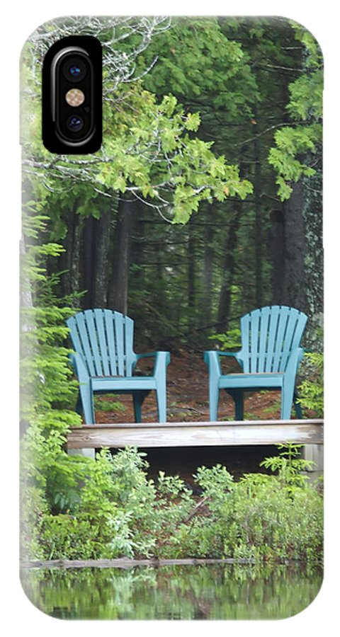 Nobody IPhone X Case featuring the photograph Two Chairs Sit At A Lakeside Camp by Heather Perry
