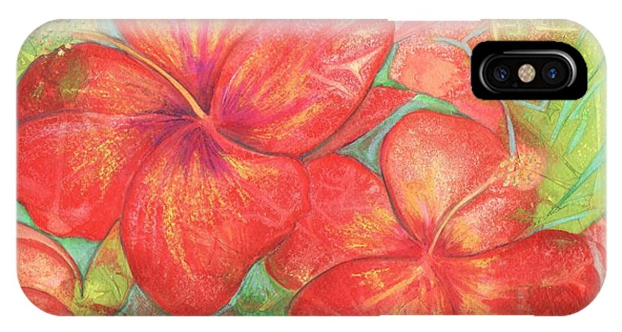 Hibiscus IPhone X Case featuring the painting Two Hibiscus Blossoms by Carla Parris