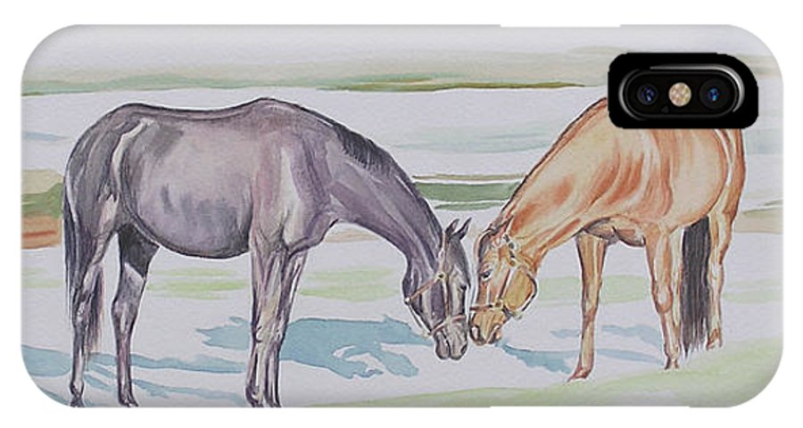 Mares IPhone X / XS Case featuring the painting Two Mares by Gail Dolphin